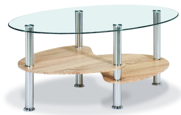 oval glass and natural coffee table