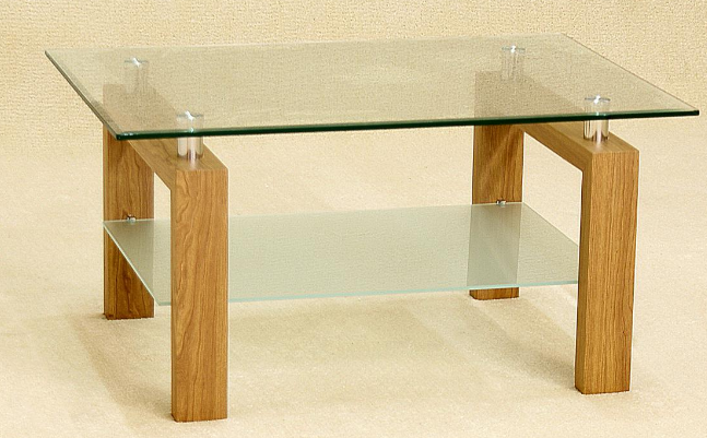 solid oak clear glass coffee table