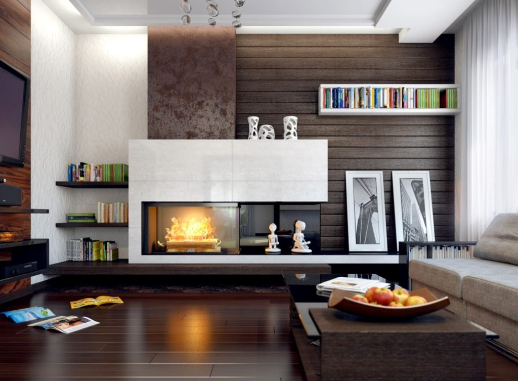 Fireplace and Bookshelves