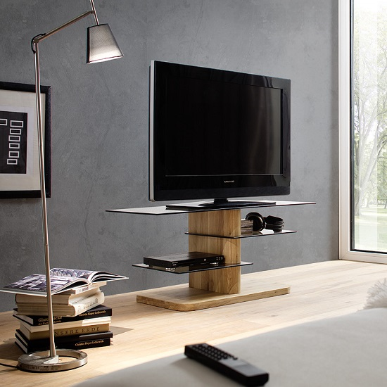 glass TV stand solid oak base Furniture in Fashion
