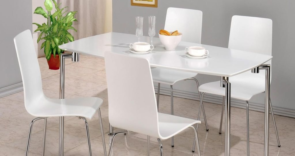 Required Goods Dining Set white gloss dining table and 4 white chairs